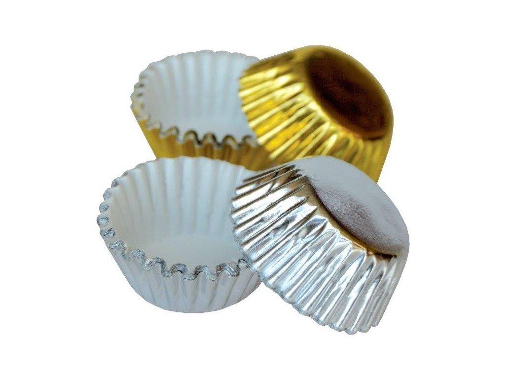 Alobalové košíčky na pralinky 25x17mm, zlaté a stříbrné, 50ks