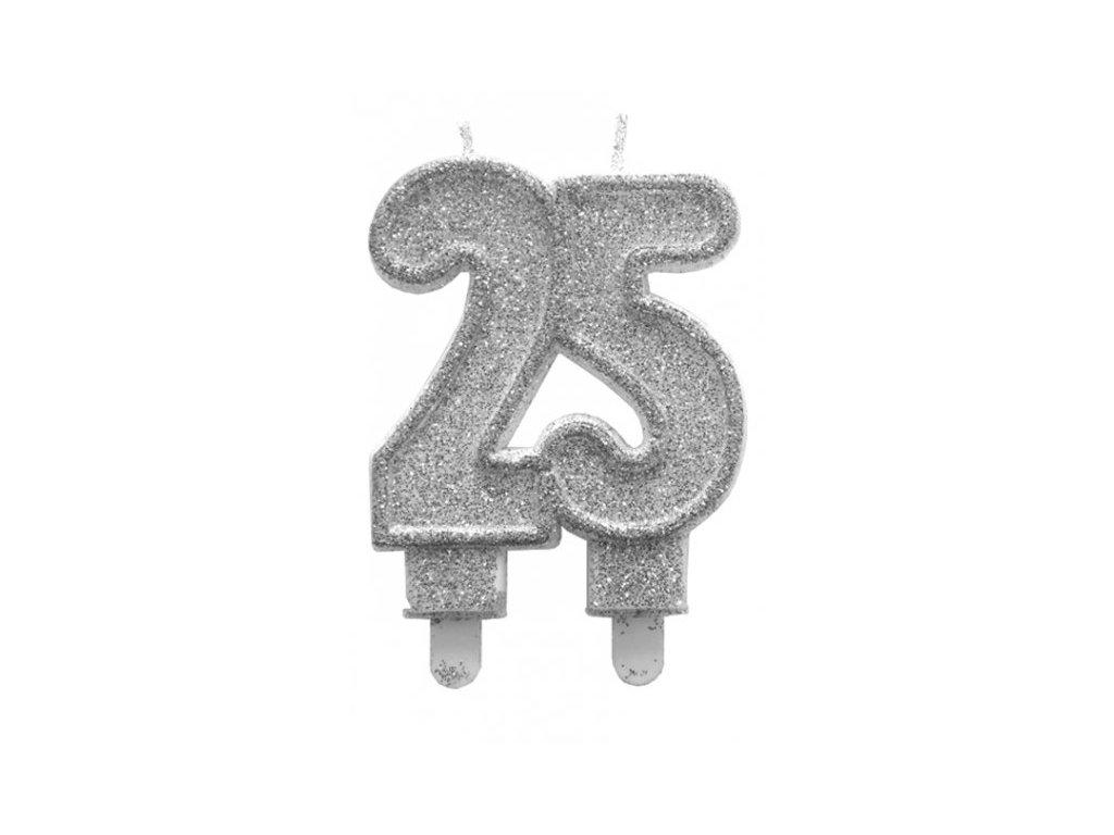 Dortová svíčka stříbrná číslo 25 Alvarak