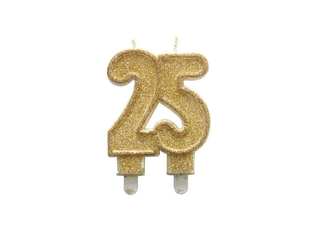 Dortová svíčka zlatá číslo 25 Alvarak