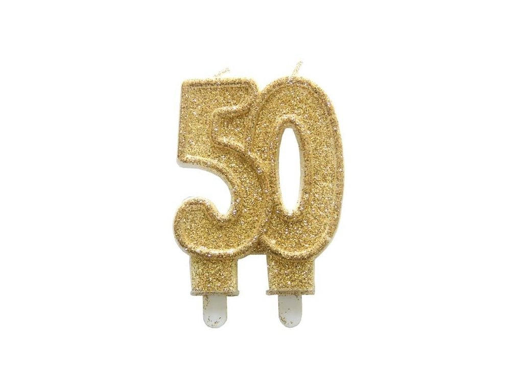 Dortová svíčka zlatá číslo 50 Alvarak