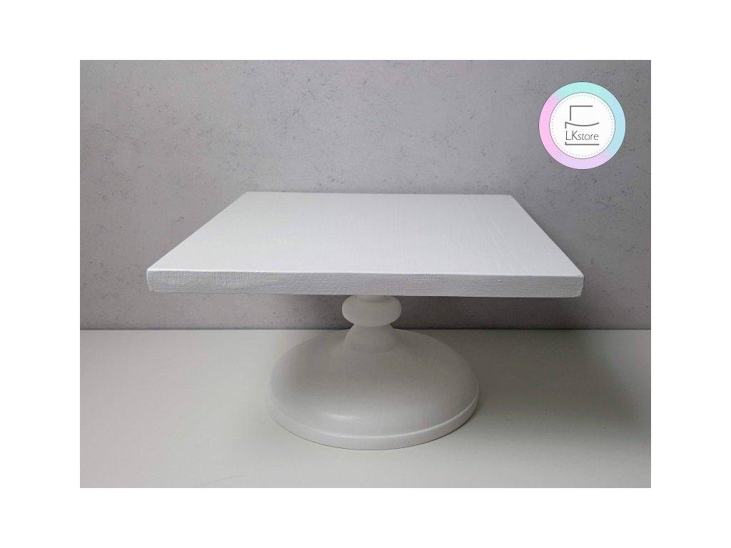 Dřevěný podnos na dort, čtverec, bílý matný 30x30cm