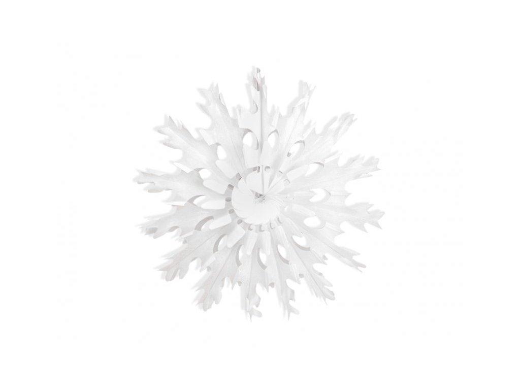 Dekorační rozeta bílá vločka, 45 cm