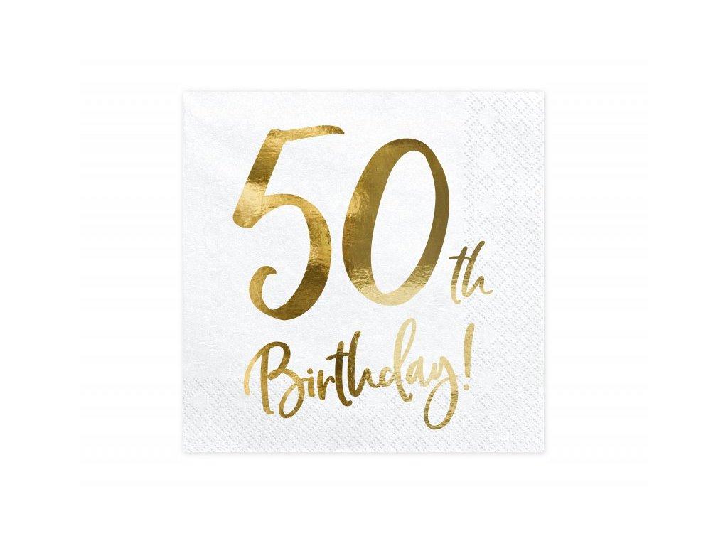 Papírové ubrousky se zlatým číslem 50