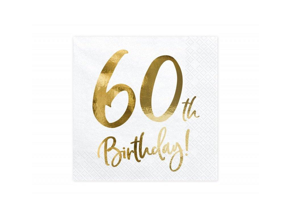 Papírové ubrousky se zlatým číslem 60