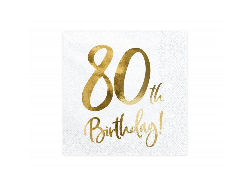 Papírové ubrousky se zlatým číslem 80