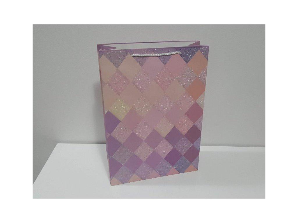 Dárková taška XXL, Růžové káro II, 44x31x12cm