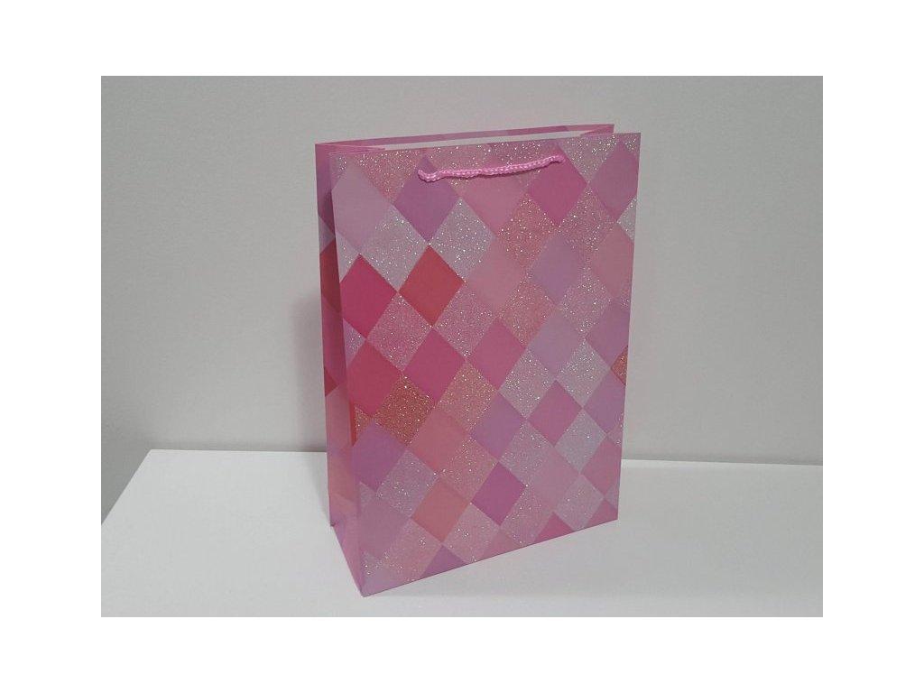 Dárková taška XXL, Růžové káro III, 44x31x12cm