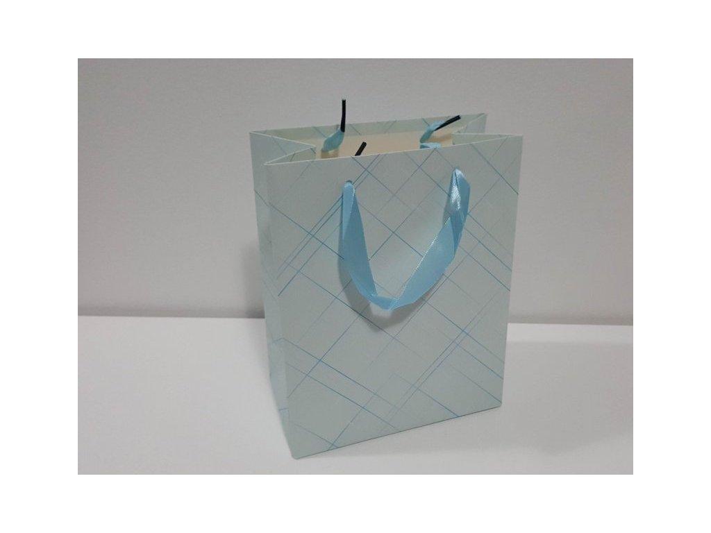 Dárková taška M, Pastelové káro I, 23x18x10cm