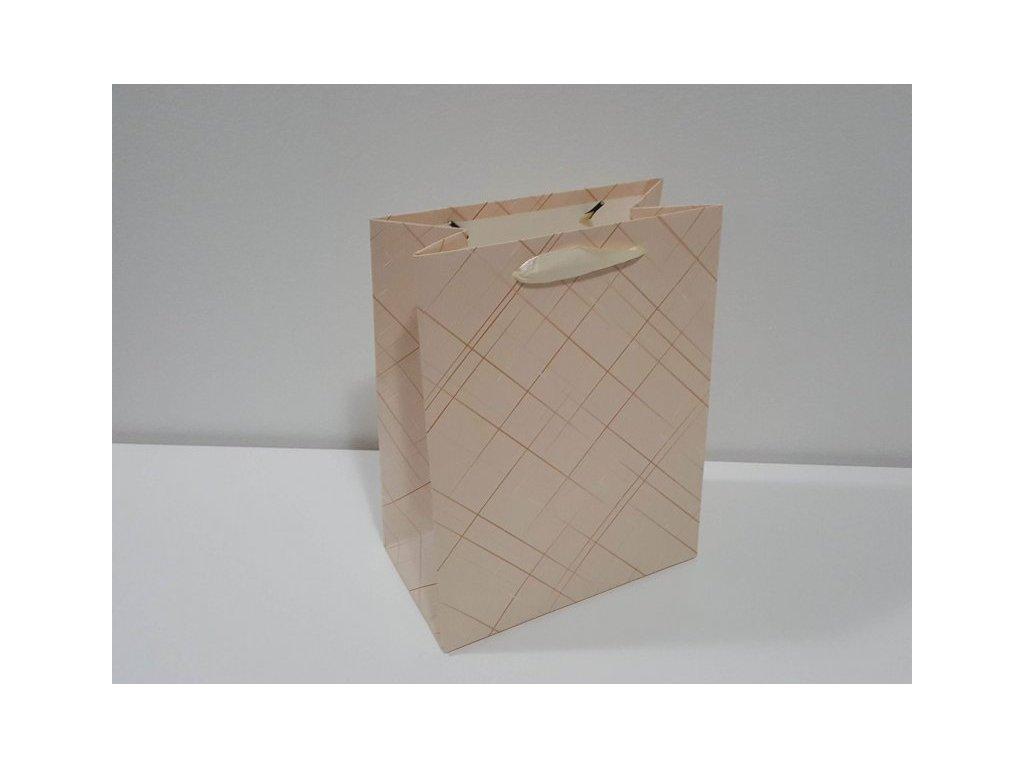 Dárková taška M, Pastelové káro IV, 23x18x10cm
