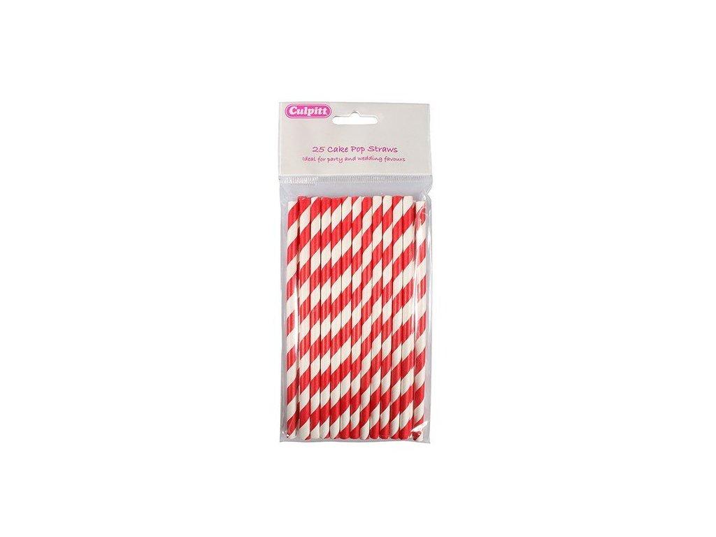 Papírové tyčinky, 15cm, 25ks, bílo-červené Culpitt