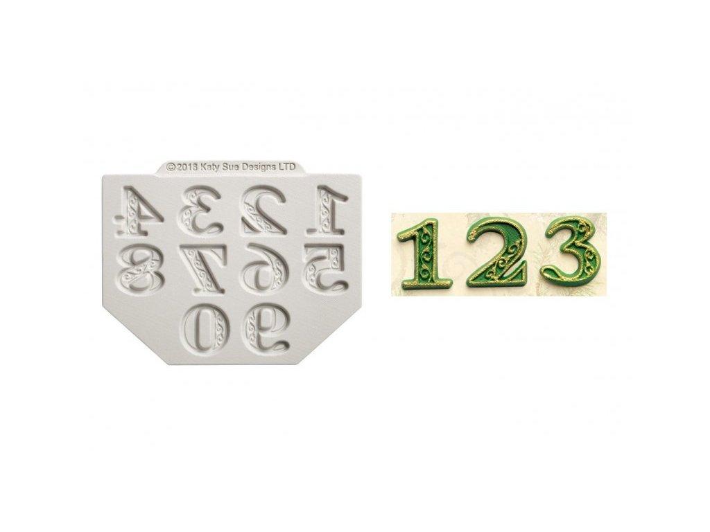 Katy Sue silikonová formička Manuscript Numbers