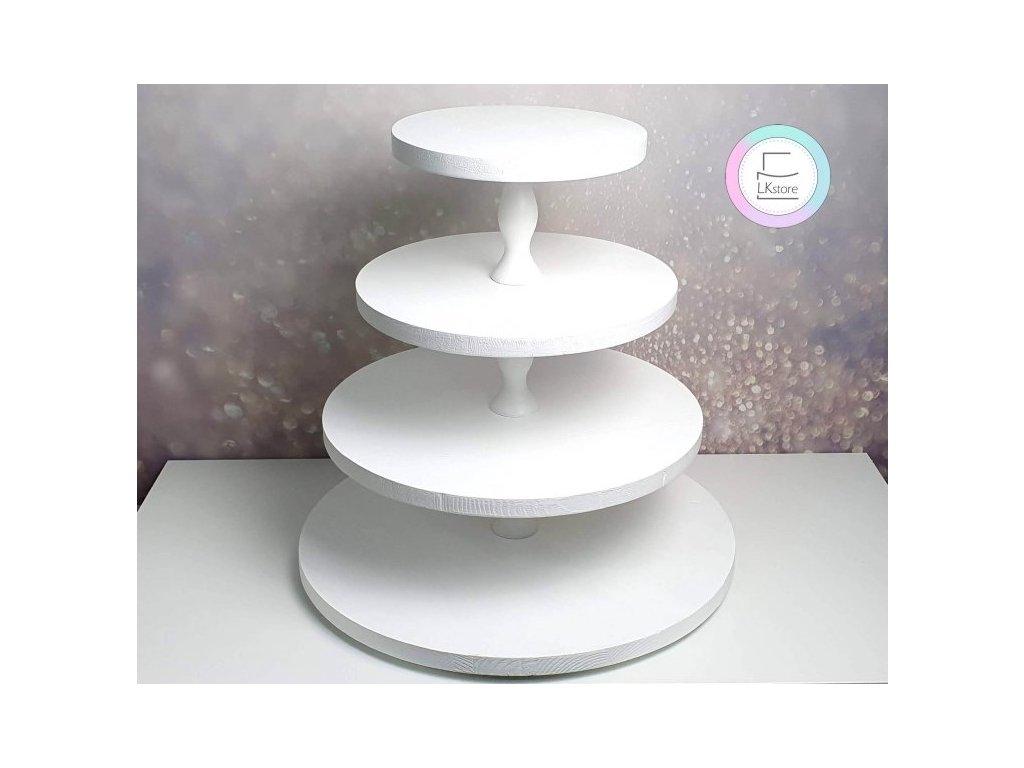 Čtyřpatrový dřevěný stojan na cupcakes bílý II.