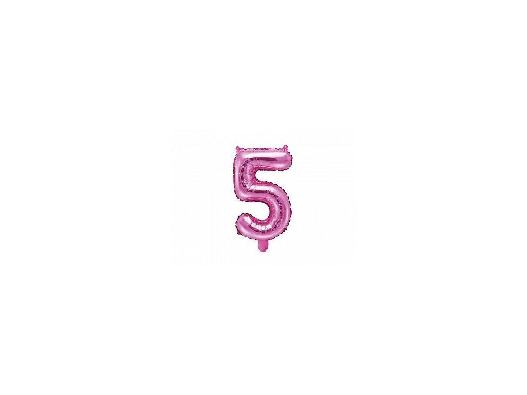 Balón fóliové číslo růžové 5