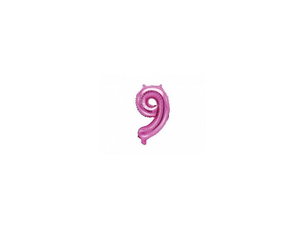 Balón fóliové číslo růžové 9