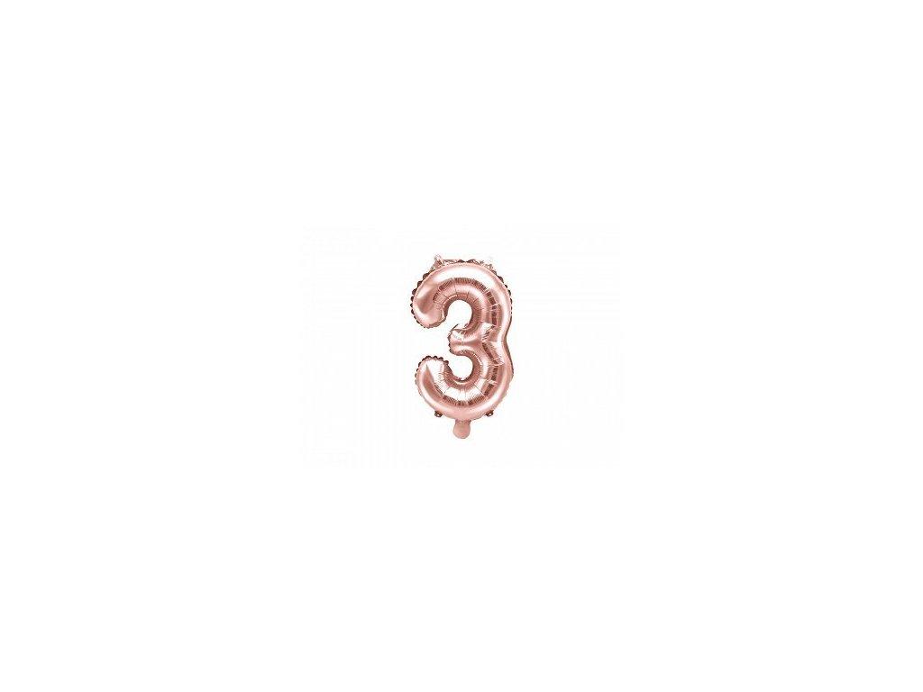 Balón fóliové číslo rose gold 3