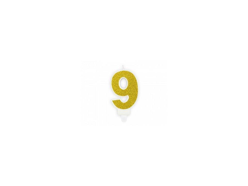 Dortová svíčka zlatá, číslo 9, 6cm