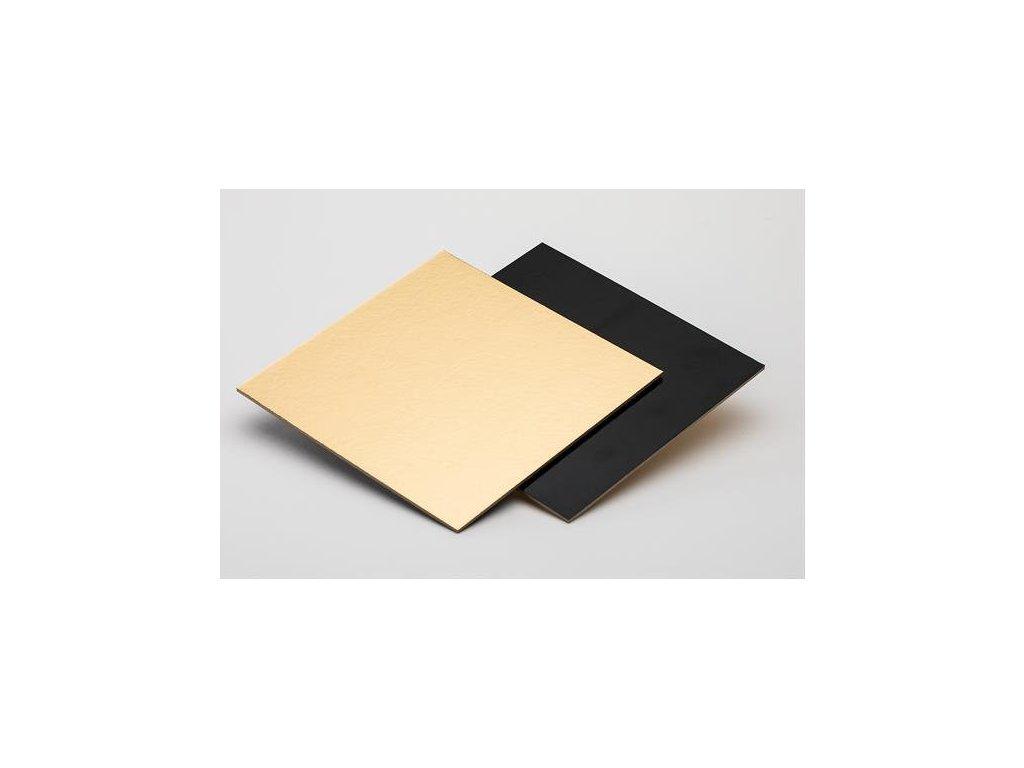 Zlatočerná podložka na minidezert, 8x8 cm