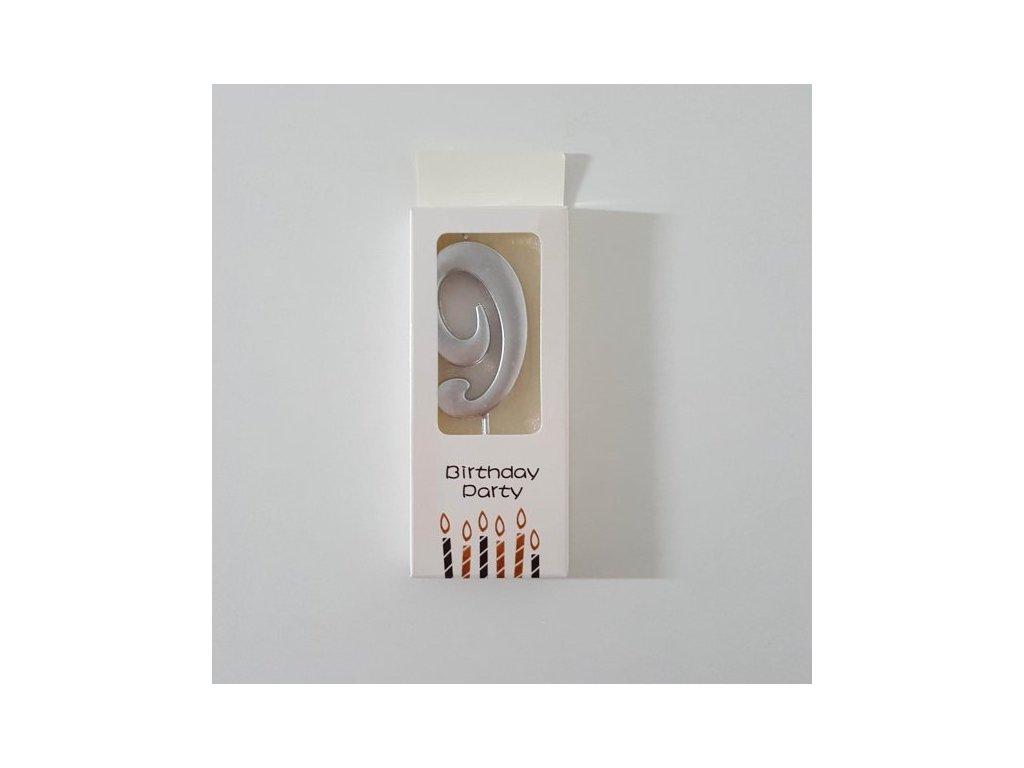 Dortová svíčka stříbrná malá, číslo 9