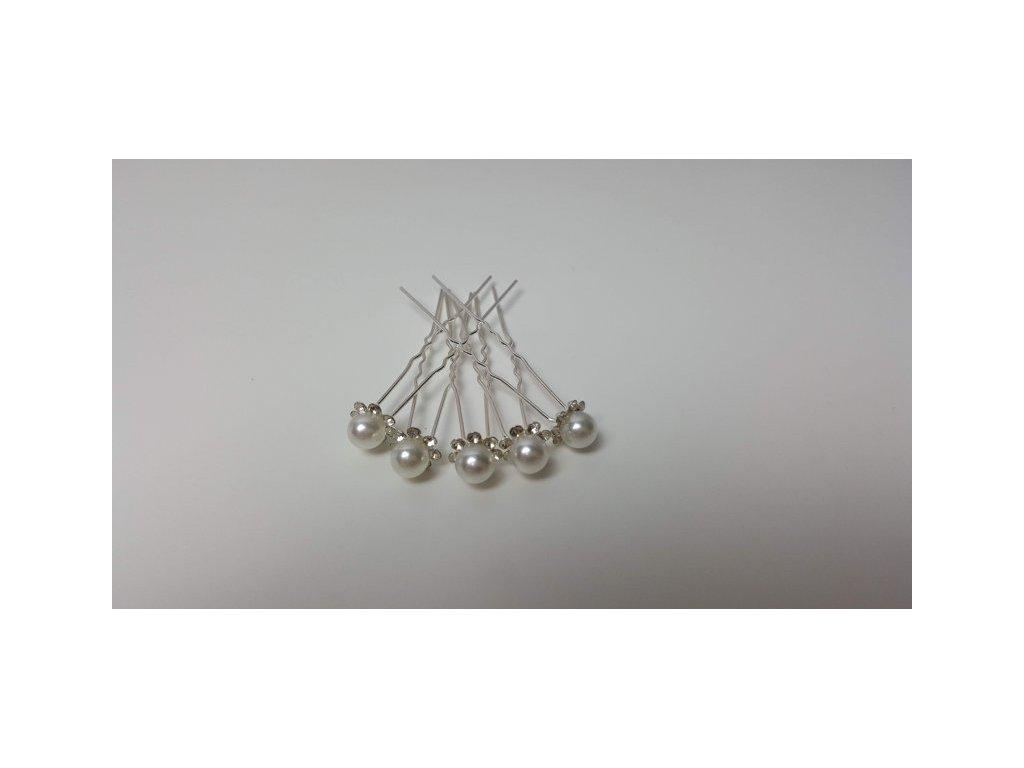 Brož stříbná perla, 5ks