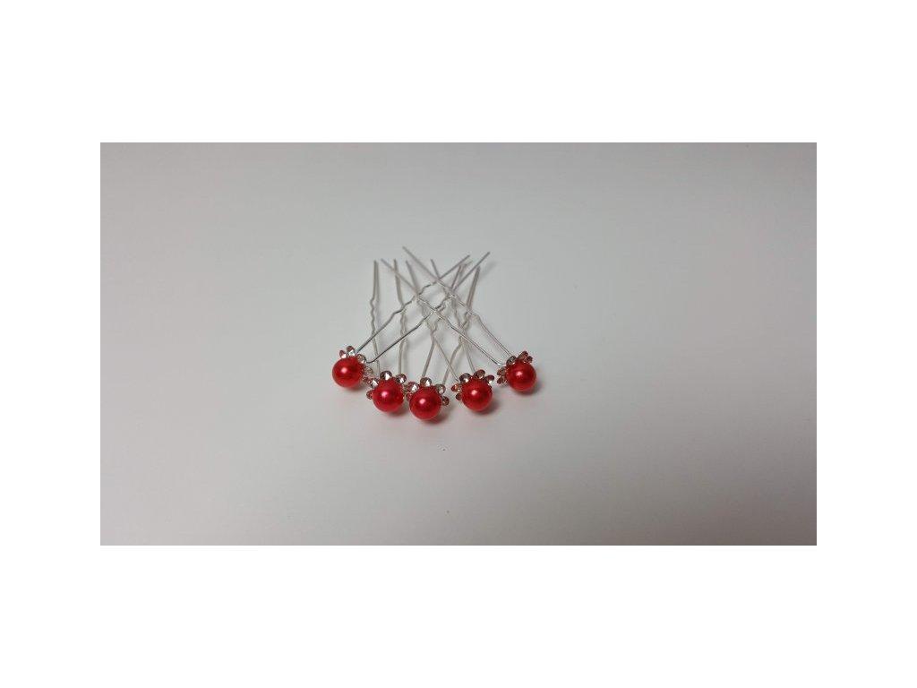 Brož červená perla, 5ks