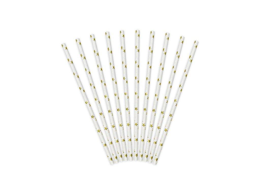 Papírová brčka bílá se zlatými hvězdičkami 10ks