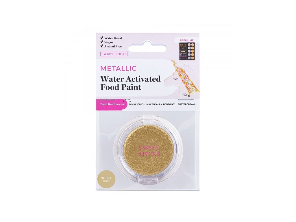 Metalická barva Water Activated Antique Gold, Sweet Sticks