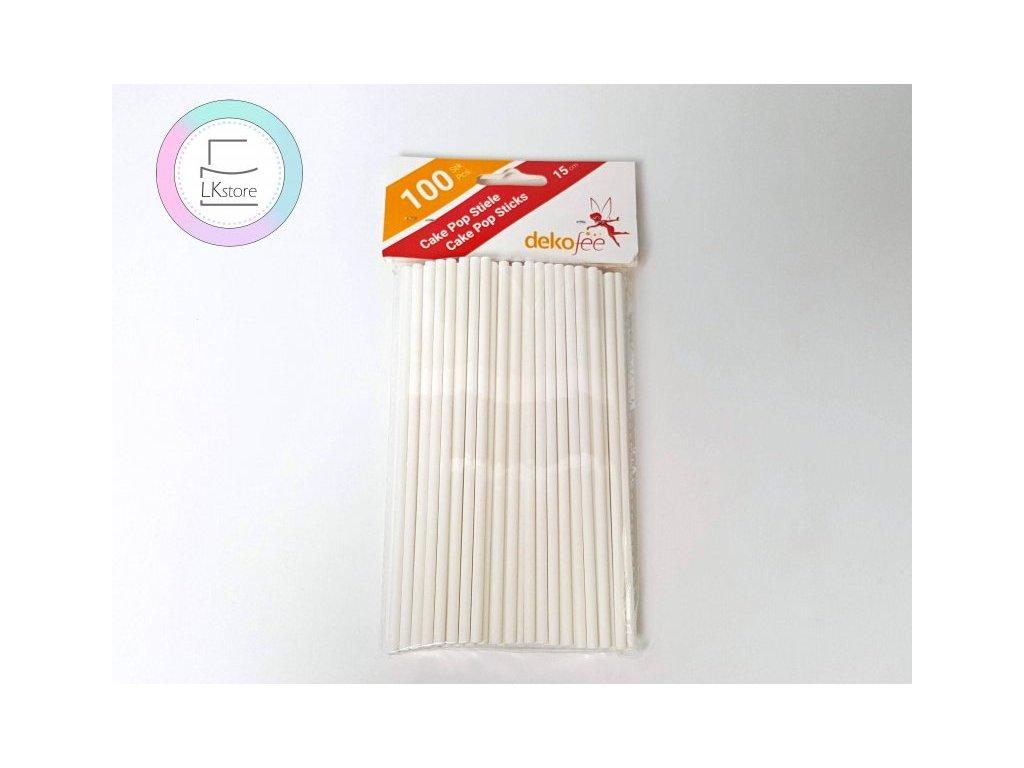 Papírové tyčinky bílé Dekofee 15 cm, 100 ks