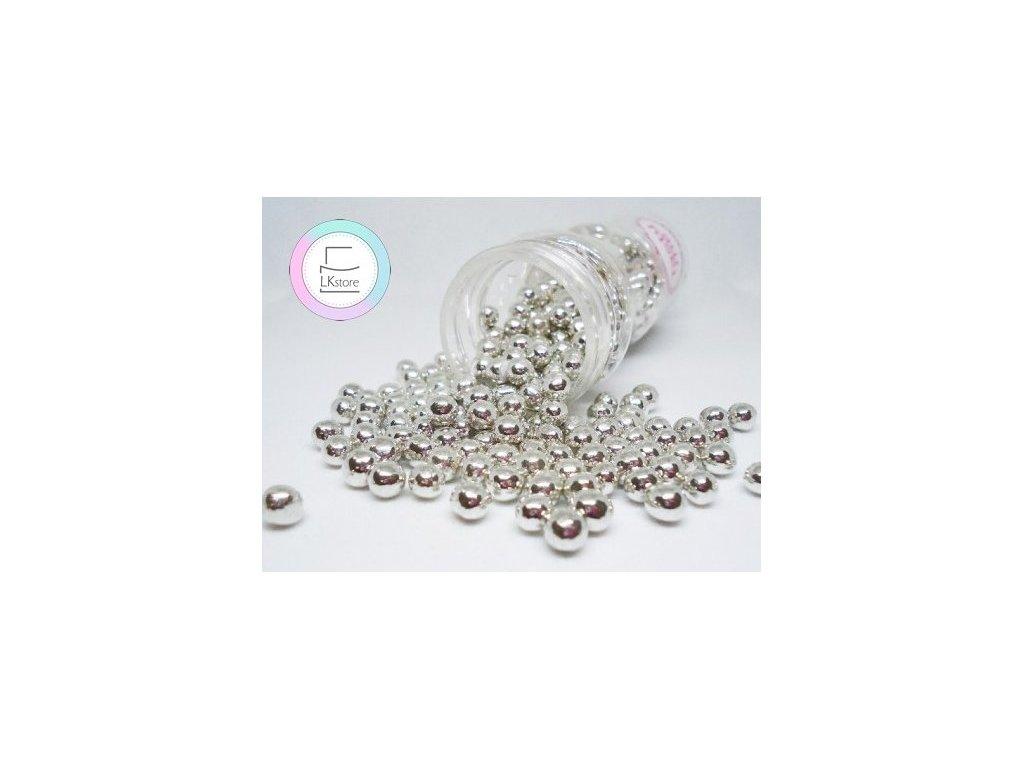 Cukrové zdobení TastyMe, Cripsy Chocolate pearl silver 50 g