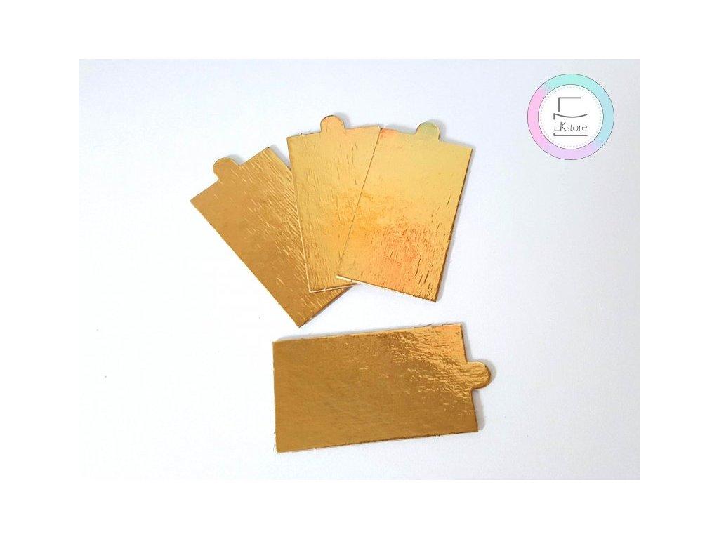 Tenká zlatá podložka na minidezert, 9x5 cm