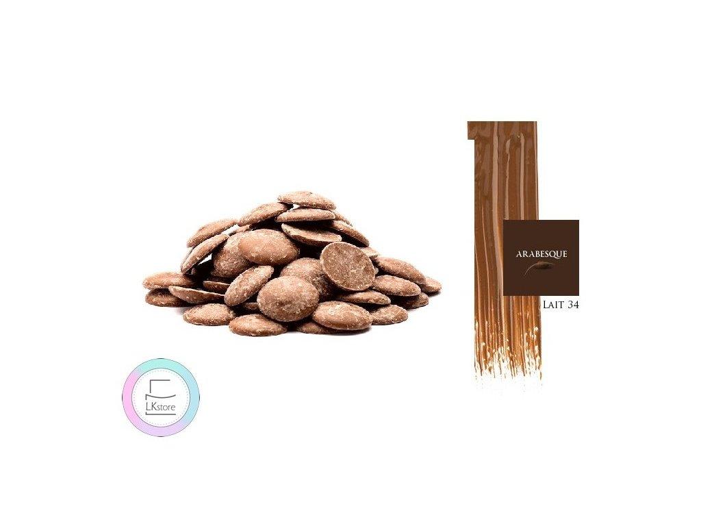 Mléčná čokoláda Arabesque Lait 34%, 1 kg