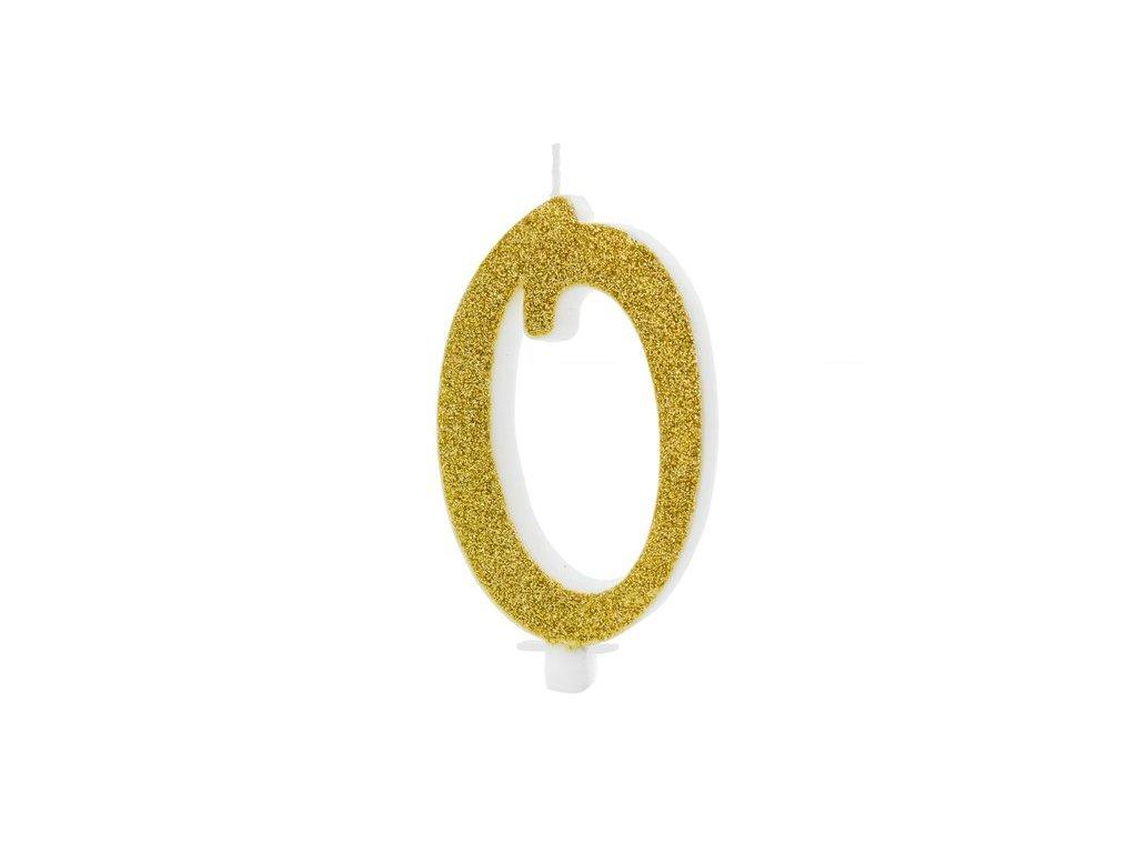 Dortová svíčka zlatá číslo 0, 10cm