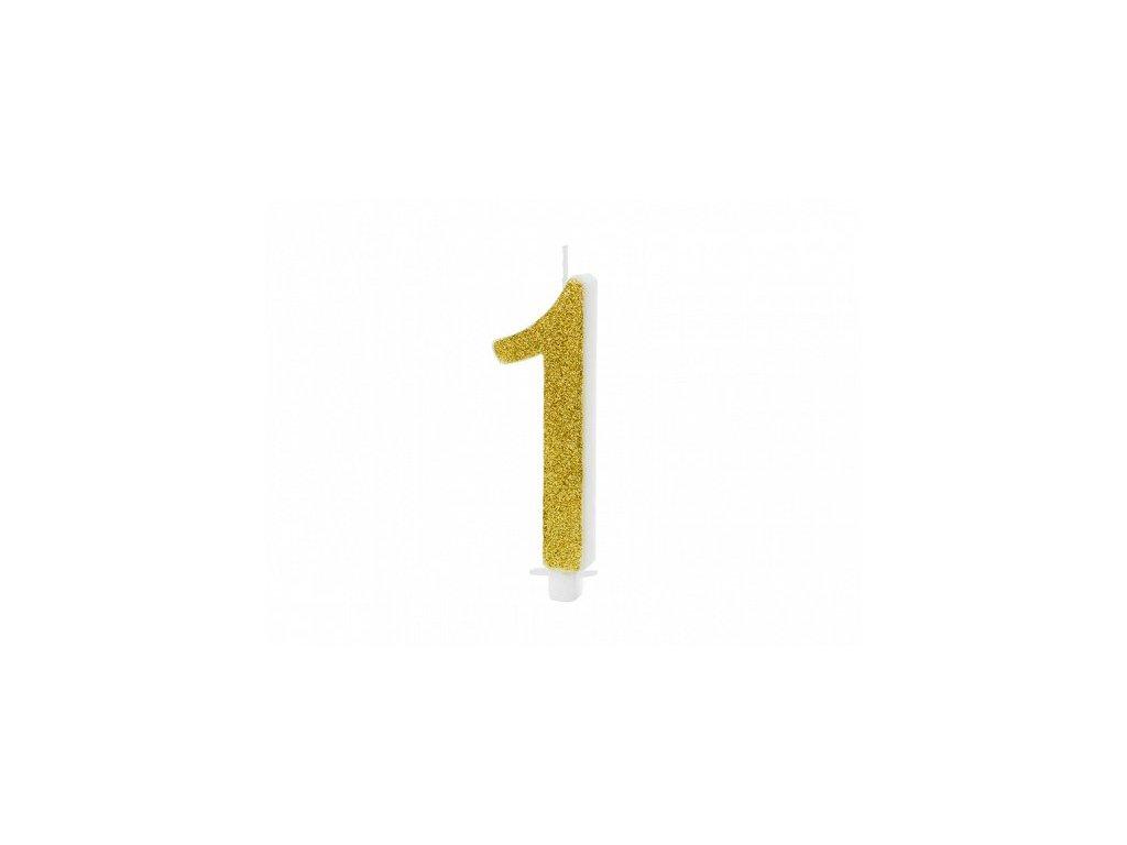 Dortová svíčka zlatá číslo 1, 10cm
