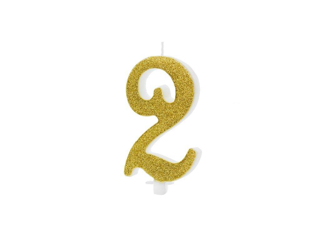 Dortová svíčka zlatá číslo 2, 10cm