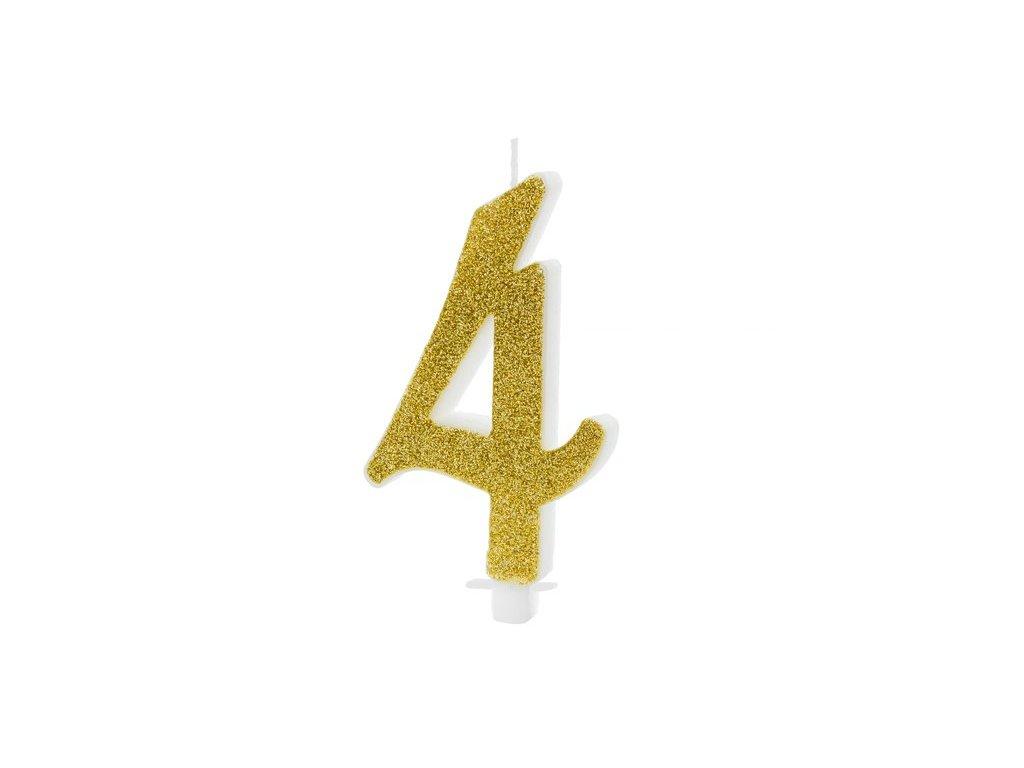 Dortová svíčka zlatá číslo 4, 10cm
