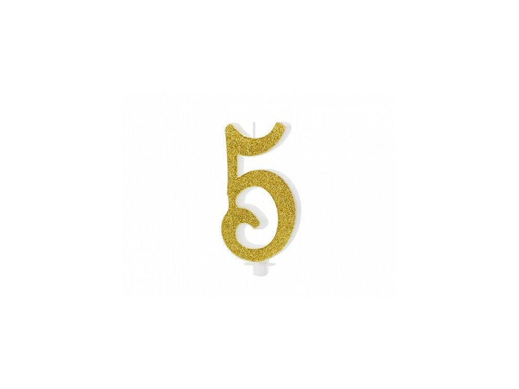 Dortová svíčka zlatá číslo 5, 10cm