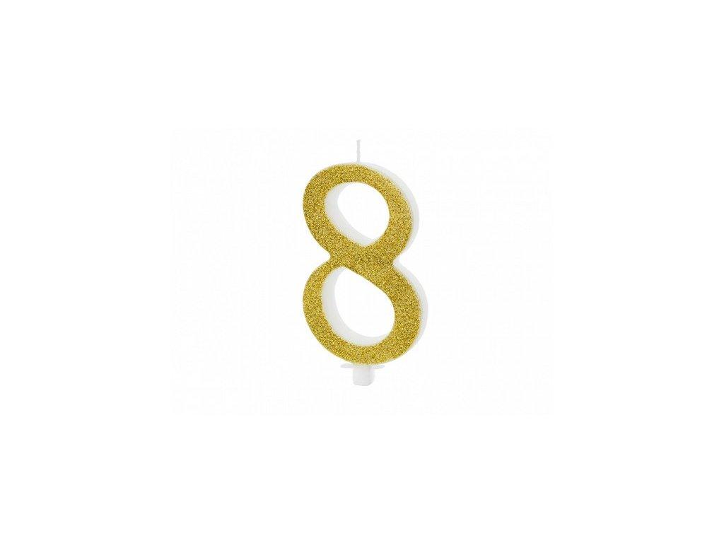 Dortová svíčka zlatá číslo 8, 10cm