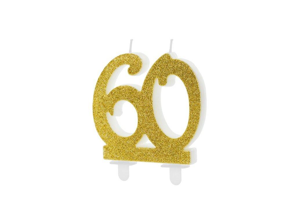 Dortová svíčka zlatá číslo 60, 7,5cm