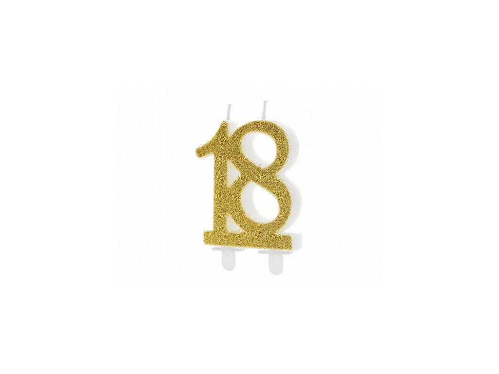 Dortová svíčka zlatá číslo 18, 7,5cm