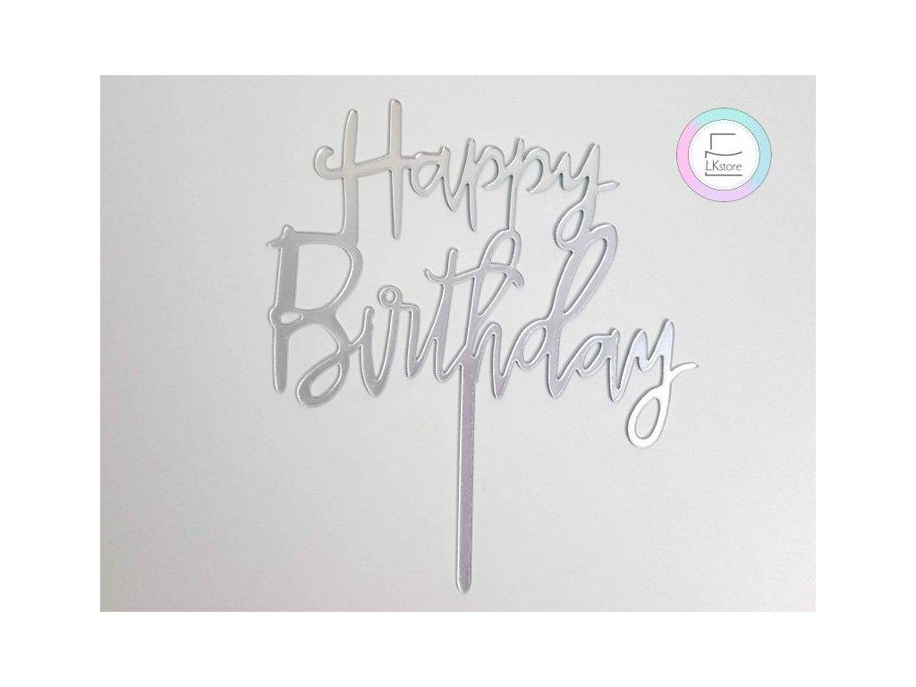 Zápich Happy Birthday stříbrný malý