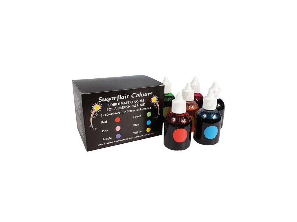 Sada airbrushových barev Sugarflair 60 ml, 6 ks