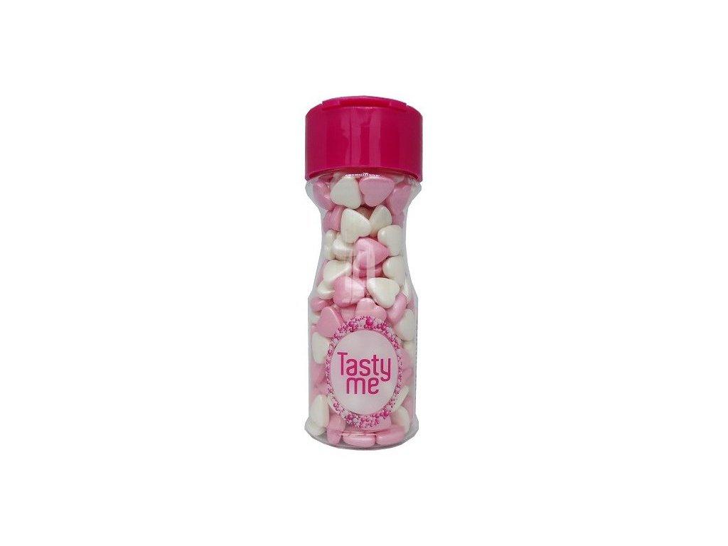 Cukrové zdobení TastyMe, Hearts Pearly Pink - White 75g
