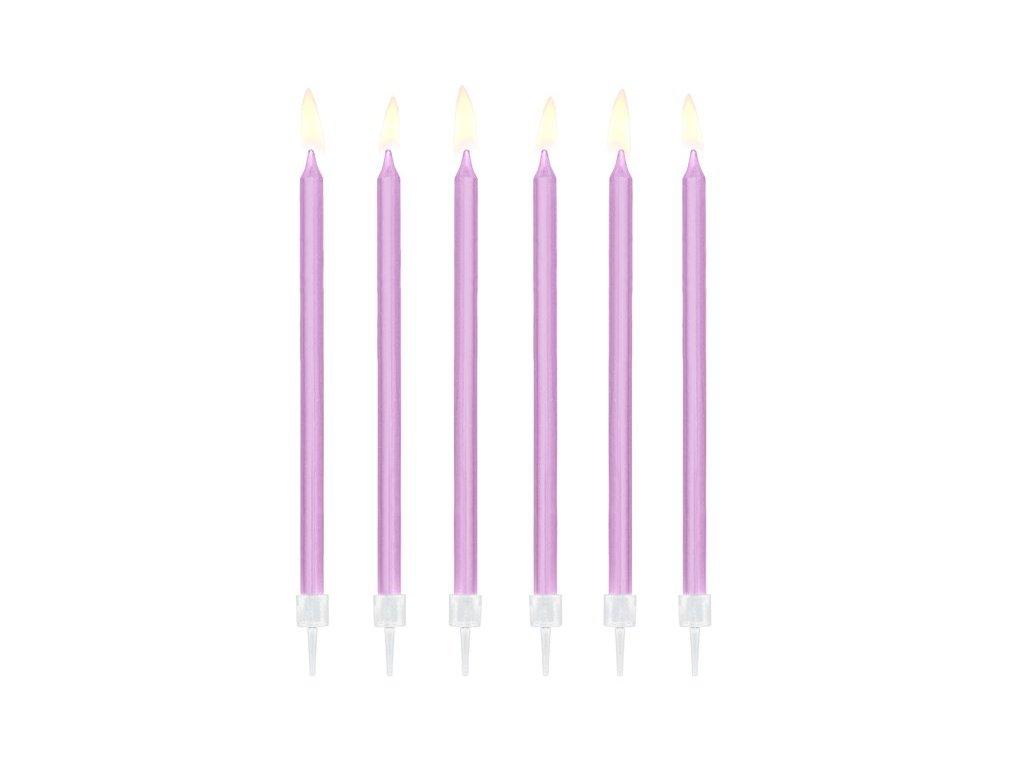 Svíčky narozeninové fialové 14cm, PartyDeco
