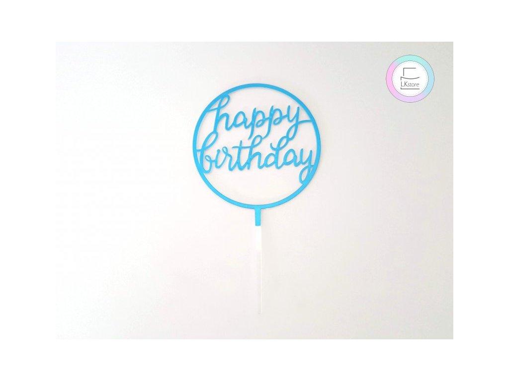 Zápich Happy Birthday modrý kulatý malý
