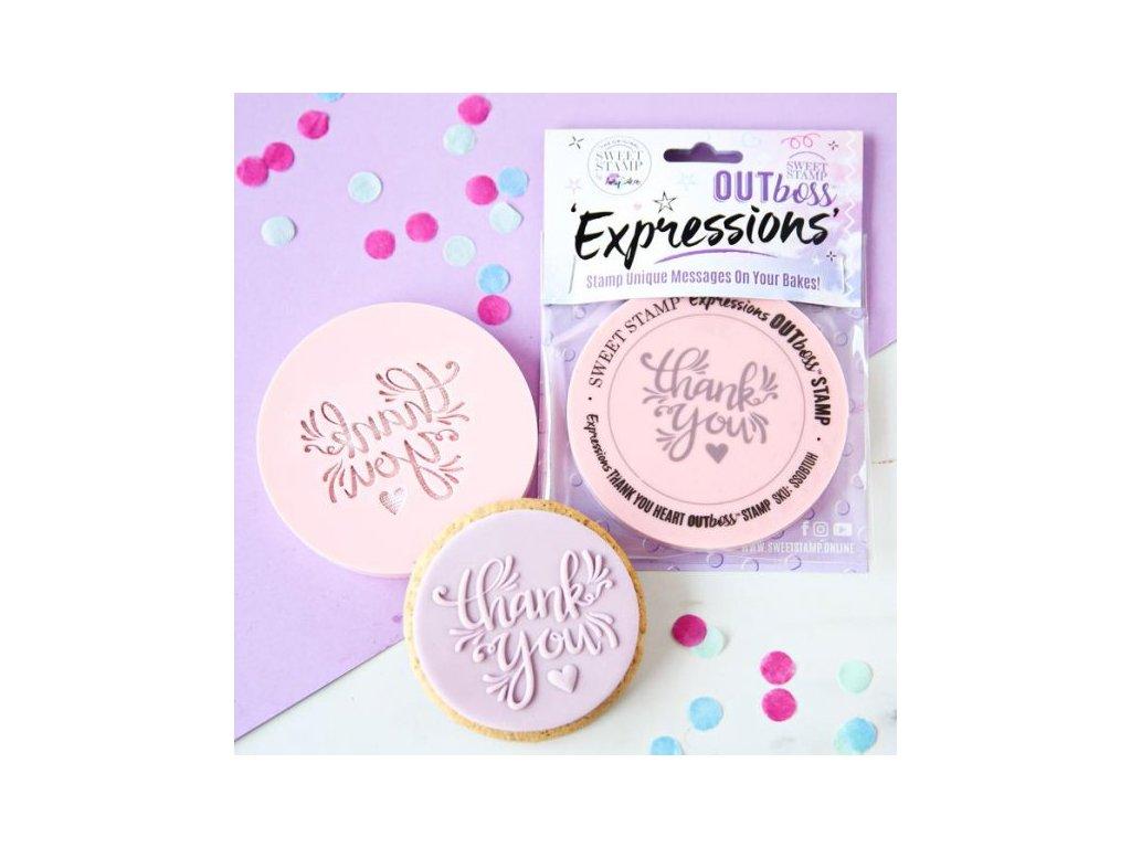 Vytlačovací OUTboss  - Thank You Heart, Sweet Stamp