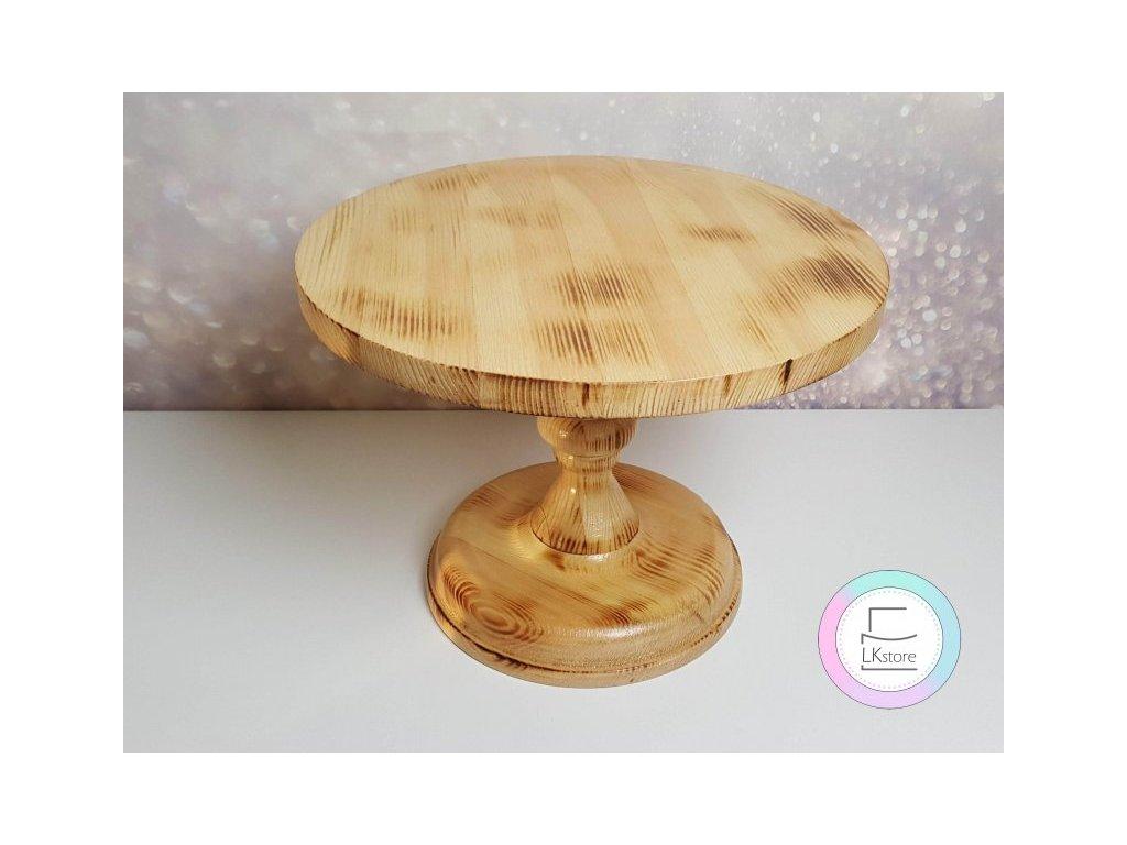 Dřevěný podnos na dort přírodní opálený III., pr. 30cm