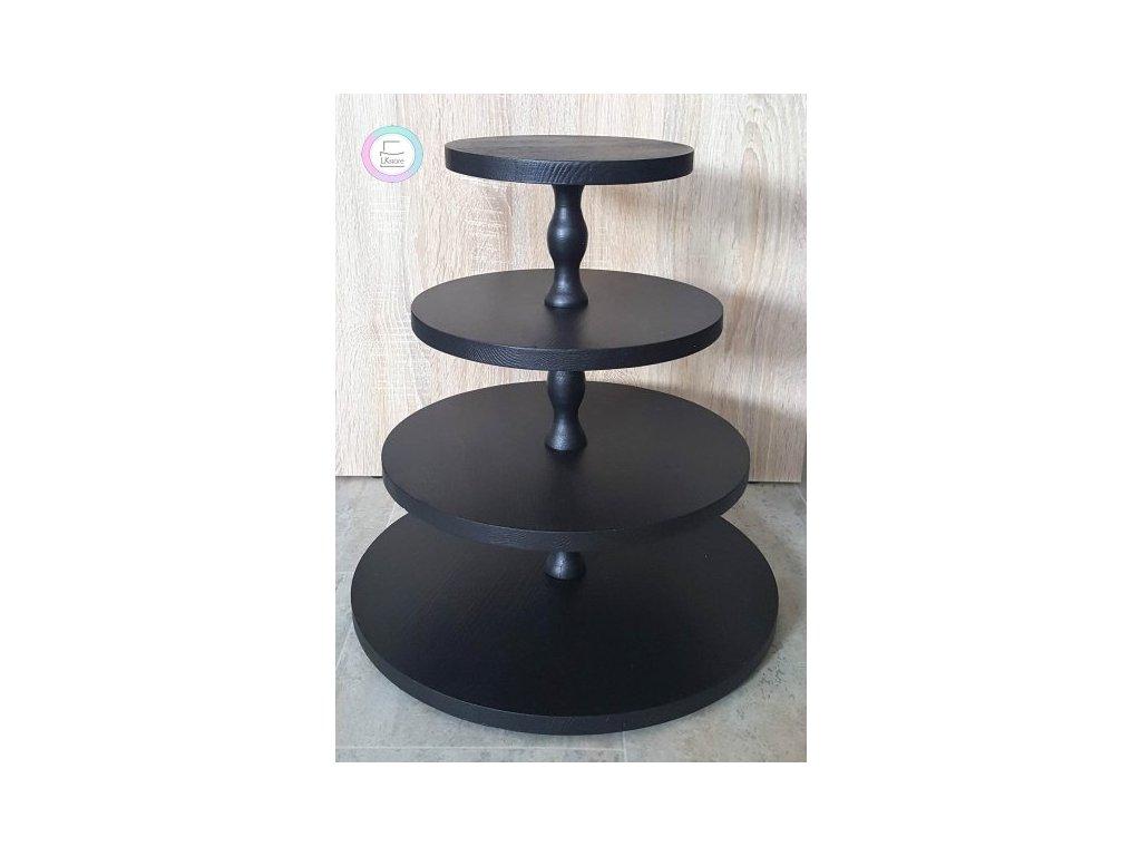 Čtyřpatrový dřevěný stojan na cupcakes černý