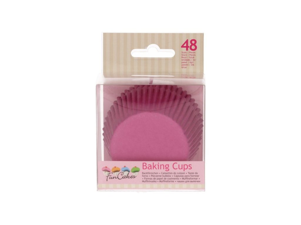 Cukrářské košíčky, 50x32mm Pink, FunCakes, 48ks
