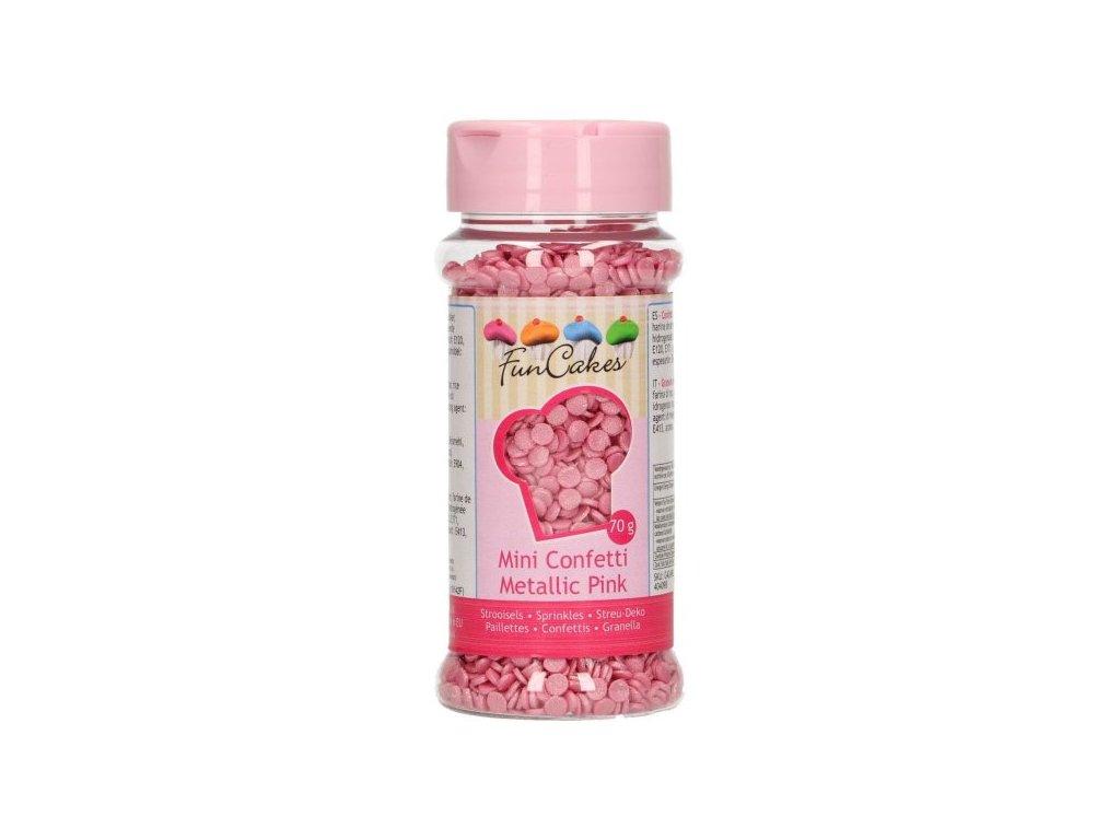 Cukrové zdobení FunCakes, Confetti Metallic Pink 70g