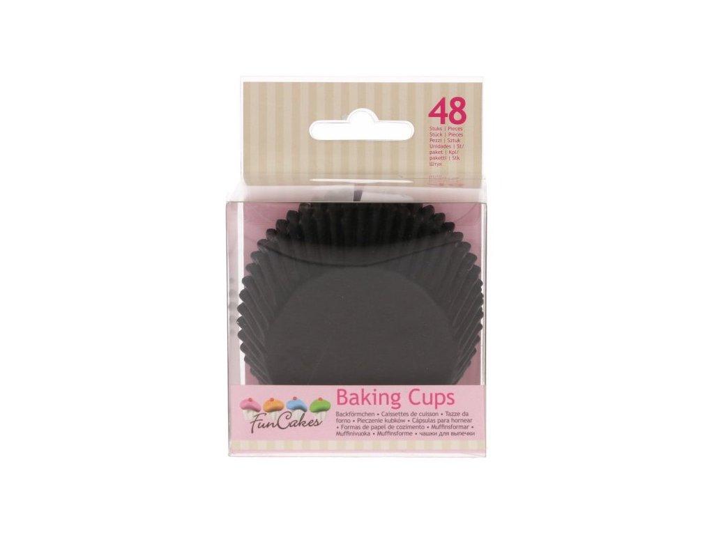 Cukrářské košíčky, 50x32mm Black, FunCakes, 48ks
