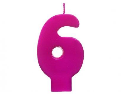 Dortová svíčka růžová číslo 6
